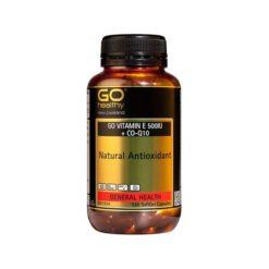 Go Vitamin E 500IU + COQ10 - Natural Antioxidant        130 Capsules